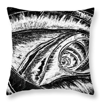 A0216a Expressive Abstract Black And White Throw Pillow