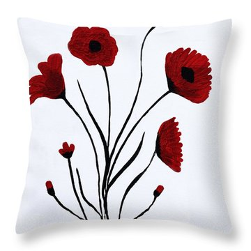 Throw Pillow featuring the painting Expressive Abstract Poppies A61216b_e by Mas Art Studio