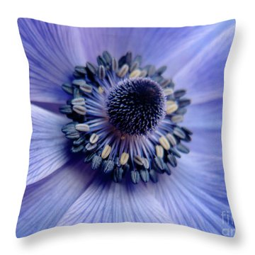 Expressive Blue And Purple Floral Macro Photo 706 Throw Pillow