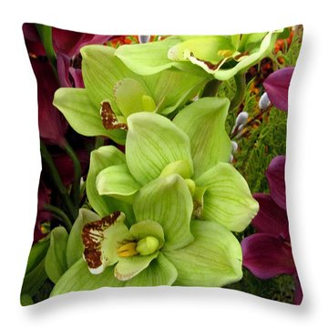 Throw Pillow featuring the painting Expressive Botanical Orchids 715 by Mas Art Studio
