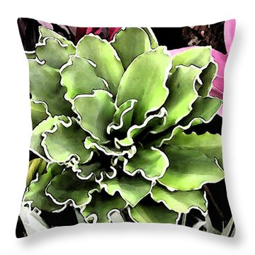 Throw Pillow featuring the painting Expressive Digital Tropical Floral Photo 001a by Mas Art Studio