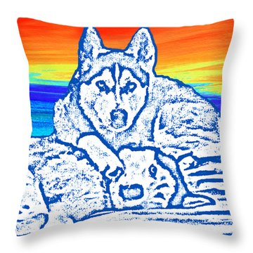 Throw Pillow featuring the painting Expressive Huskies Mixed Media C51816 by Mas Art Studio