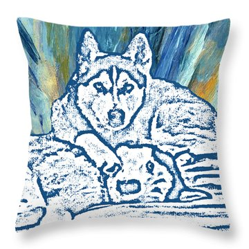 Throw Pillow featuring the painting Expressive Huskies Mixed Media F51816 by Mas Art Studio