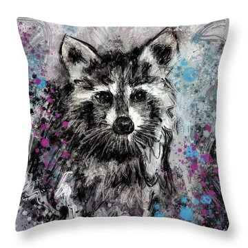 Expressive Raccoon Throw Pillow