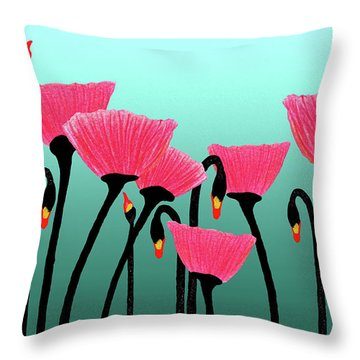 Expressive Red Pink Green Poppy Painting Y1a Throw Pillow