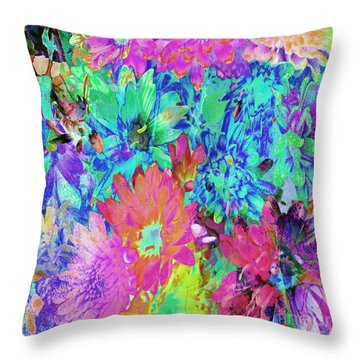 Throw Pillow featuring the painting Expressive Digital Still Life Floral B721 by Mas Art Studio