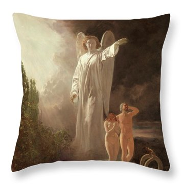 Expulsion Of Adam And Eve Throw Pillow