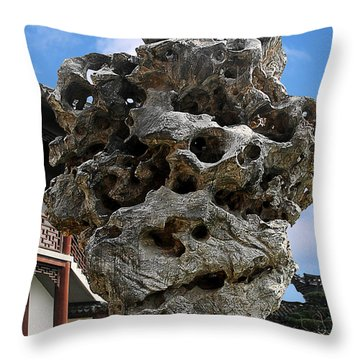 Exquisite Jade Rock - Yu Garden - Shanghai Throw Pillow by Christine Till