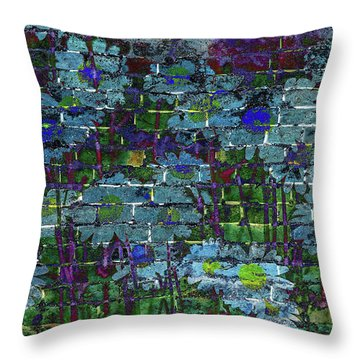 Extraordinary Blue Daisies Graffiti On A Brick Wall Throw Pillow