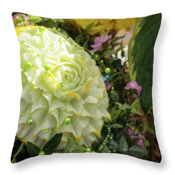 Extravagant Jeweled Dishes - Carved Melon Flower With Green Pearls Throw Pillow