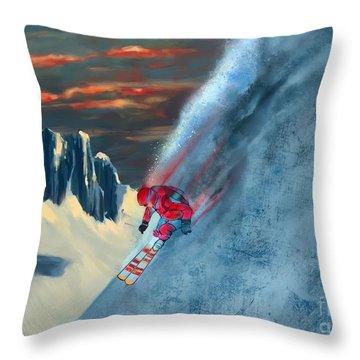 Extreme Ski Painting  Throw Pillow