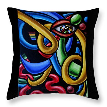 Colorful Illusion Optical Eye Art Painting Chromatic Art - Multicolor Chromatic Energy Flow Art  Throw Pillow