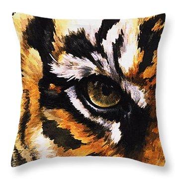 Eye-catching Sumatran Tiger Throw Pillow by Barbara Keith