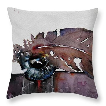 Throw Pillow featuring the painting Eye Feather by Geni Gorani