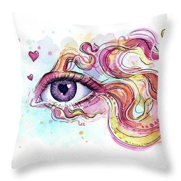 Eye Fish Surreal Betta Throw Pillow by Olga Shvartsur
