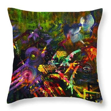 Throw Pillow featuring the painting Eye In Chaos by Claire Bull