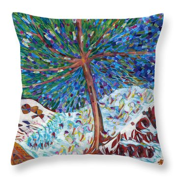 Throw Pillow featuring the painting Himalaya Code - Eye by Linda Cull