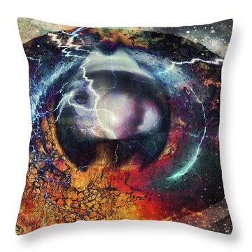Throw Pillow featuring the digital art Eye Of The Storm by Linda Sannuti