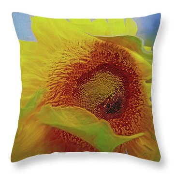 Throw Pillow featuring the mixed media Eye Of The Sunflower by Lynda Lehmann