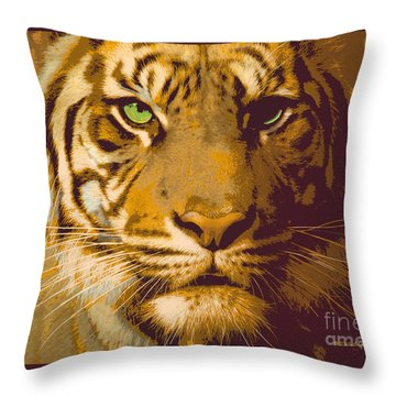 Eye Of The Tiger Animal Portrait  Throw Pillow