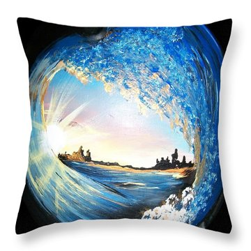 Throw Pillow featuring the painting Eye Of The Wave by Sharon Duguay