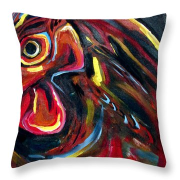 Throw Pillow featuring the painting Eye Rooster by John Jr Gholson