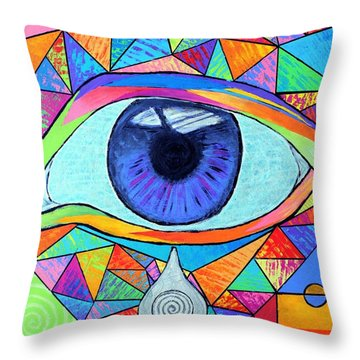 Eye With Silver Tear Throw Pillow by Jeremy Aiyadurai