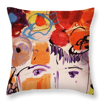 Eyes And Flowers Throw Pillow by Amara Dacer