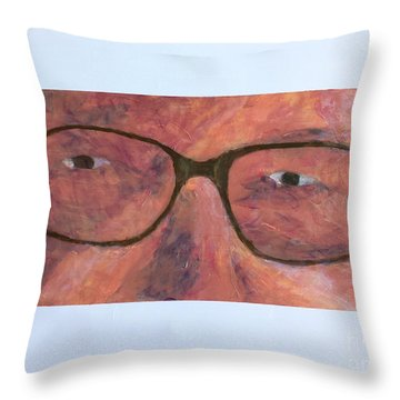 Throw Pillow featuring the painting Eyes by Donald J Ryker III