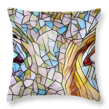 Eyes Of A Goddess - Stained Glass Throw Pillow