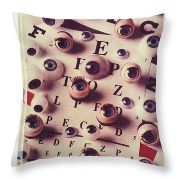 Eyes On Eye Chart Throw Pillow by Garry Gay