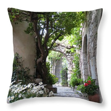 Throw Pillow featuring the photograph Eze Passageway by Carla Parris
