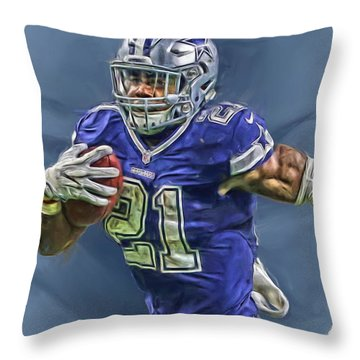 Ezekiel Elliott Dallas Cowboys Oil Painting 2 Throw Pillow