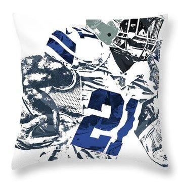 Throw Pillow featuring the mixed media Ezekiel Elliott Dallas Cowboys Pixel Art 6 by Joe Hamilton