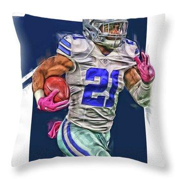 Ezekiel Elliotte Dallas Cowboys Oil Art Throw Pillow