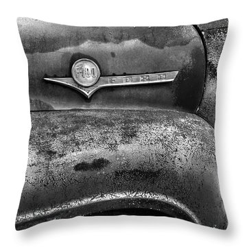 F-100 Ford Black And White Throw Pillow