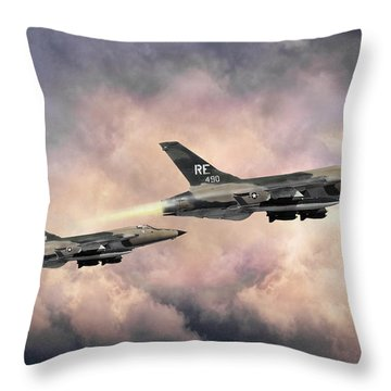 Throw Pillow featuring the digital art F-105 Thunderchief by Peter Chilelli
