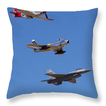 F-16 P-51d F-86 Heritage Flight- Flyby Throw Pillow