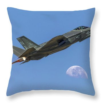 F-35 Shoots The Moon Throw Pillow
