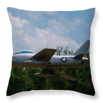 Throw Pillow featuring the digital art F-86l Sabre by Chris Flees