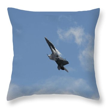 Throw Pillow featuring the photograph F/a-18 Fighter Fast Climb by Aaron Berg