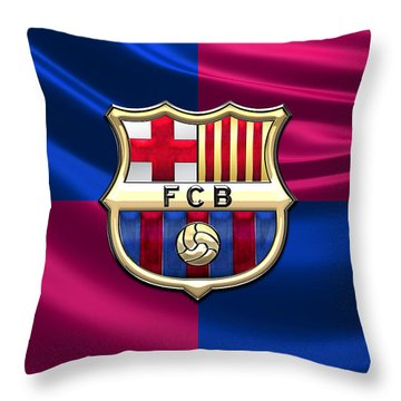 F. C. Barcelona - 3d Badge Over Flag Throw Pillow by Serge Averbukh