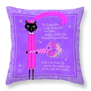 F Is For Fetching Feline And Flowers Throw Pillow