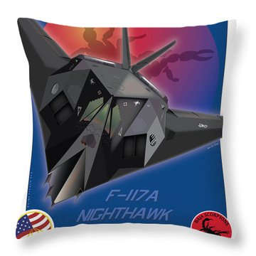 Throw Pillow featuring the drawing F117a Nighthawk by Kenneth De Tore