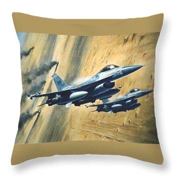 'f16 Desert Storm' Throw Pillow by Colin Parker