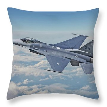 Throw Pillow featuring the digital art F16 - Fighting Falcon by Pat Speirs