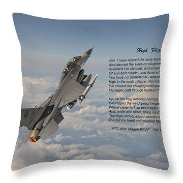 F16 - High Flight Throw Pillow by Pat Speirs