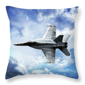 Throw Pillow featuring the photograph F18 Fighter Jet by Aaron Berg