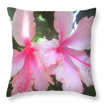 F4 Hibiscus Flowers Hawaii Throw Pillow by Donald k Hall