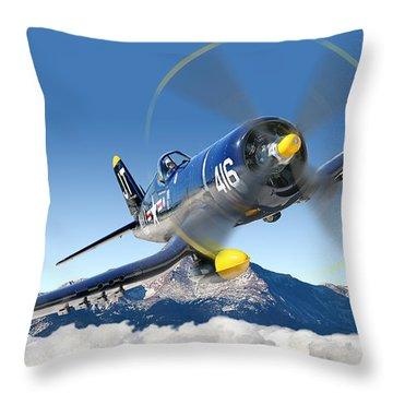 F4-u Corsair Throw Pillow by Larry McManus
